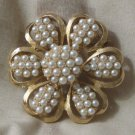 PELL Gold Tone Brooch Faux Pearls Costume Jewelry
