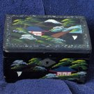 JEWELRY BOX Japan Black Lacquer Inlaid Music Vintage