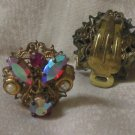 WEST GERMANY Earrings Plated Color Stones Clip Jewelry