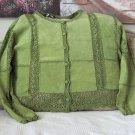 SMH BOUTIQUE Lime Green Leather Women's Blouse Sz XL
