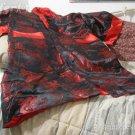 SILK ROBE Oriental Dragon Reversible Black Red Used