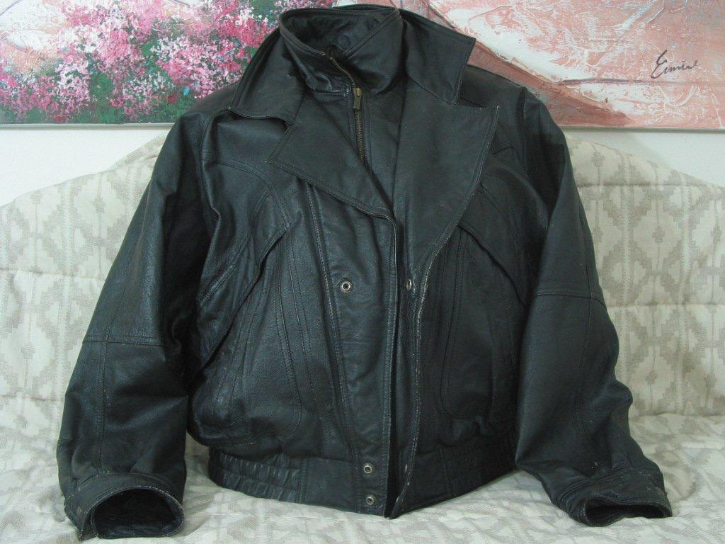 WILSONS Black Leather Motorcycle Jacket Coat Sz Lg Used