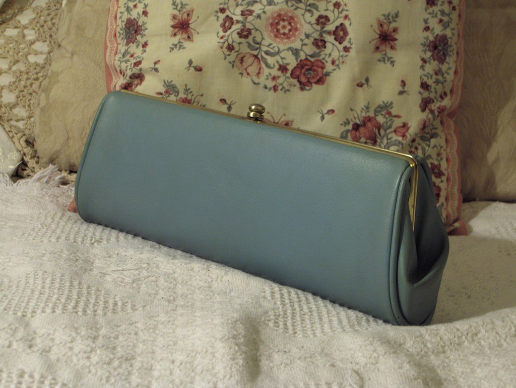 CLUTCH PURSE Vintage Old Blue Handbag Dress Accessory