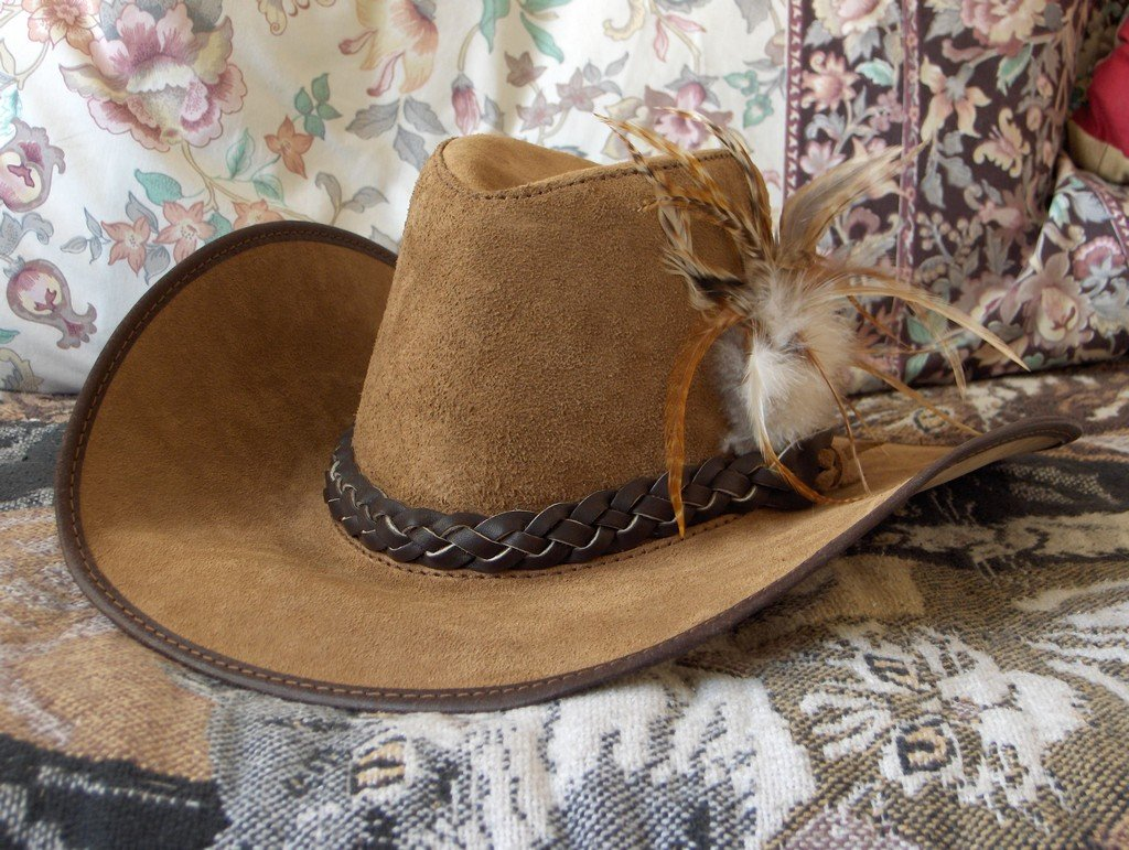 SAN ZENO Suede Leather Cowboy Type Hat Plainsmen Sz Sm