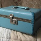 MAKEUP Blue Travel Train Hard Case Luggage Vintage Used