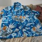 KENNINGTON Hawaiian Shirt Blue White Size XL Hawaii