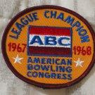 ABC BOWLING PATCH League Champion 1967 1968 Season