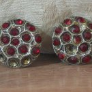 RED RHINESTONE COAT BUTTONS 2 Antique Cast Pewter Settings Missing 5 Stones
