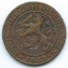 COIN MONEY Suriname Netherlands 1943 Wilhemina 1 Cent Brass