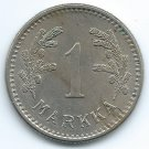 COIN MONEY Finland 1928 1 Markka Lion & Branches Copper