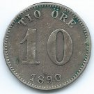COIN MONEY Sweden 1890 10 Ore Silver