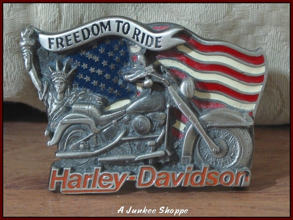 HARLEY DAVIDSON Licensed Freedom To Ride 1991 Motorcycle Belt Buckle By Baron