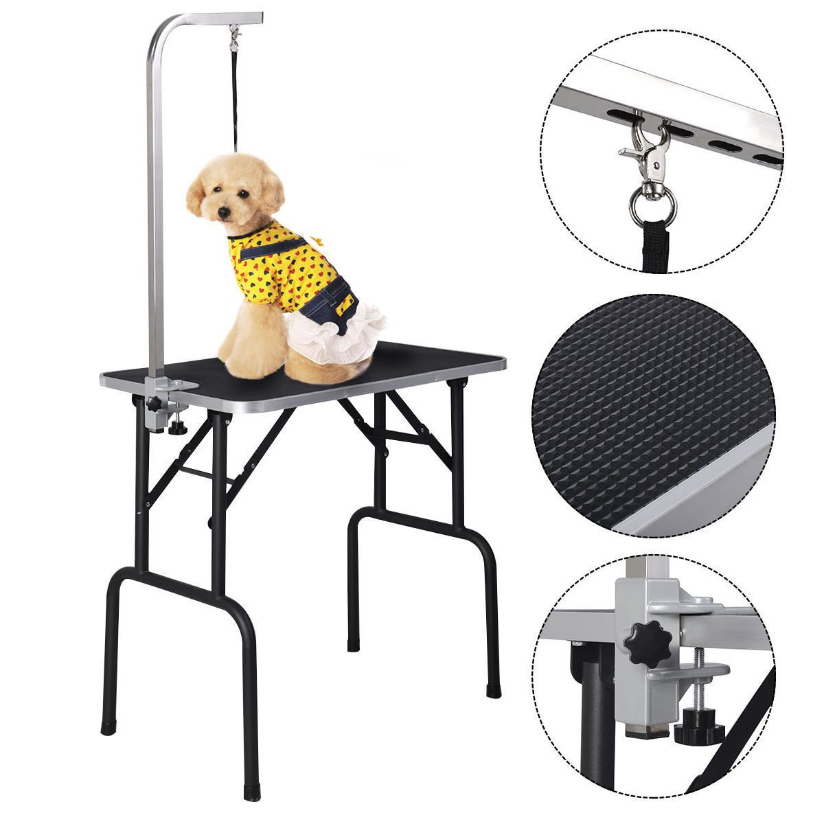 Adjustable Grooming Table Foam Top for Pets Dogs Cats with Arm and Noose and Rubber Mat 32''