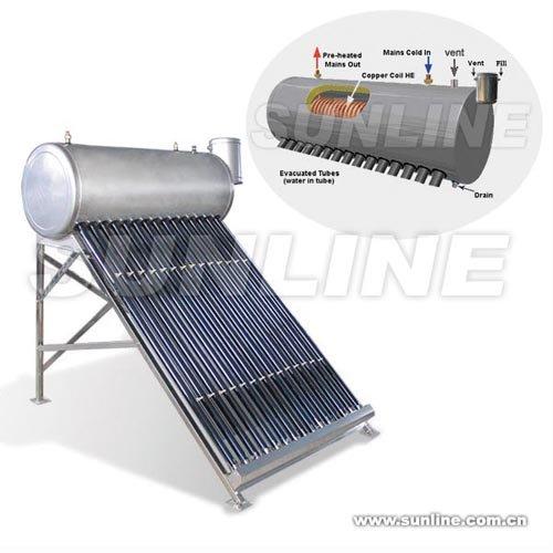 Presure Tubular Solar Water Heater with Copper Coil