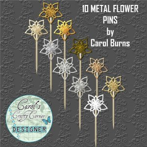 METAL FLOWER PINS