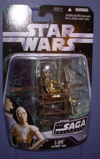 Star Wars The Saga Collection C-3PO with Ewok Trone New
