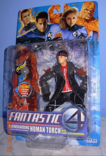 Fantastic Four Human Torch With Snowboard W/ Flames New