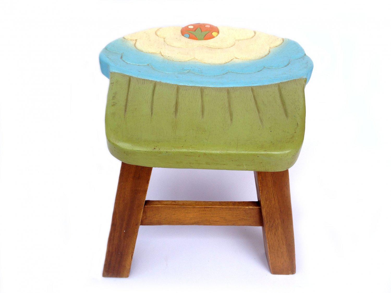 Cupcake Stool Kids Stool Sitting Stool Toddler Stool Wood Stool Wood Step Stool Child Step Stool