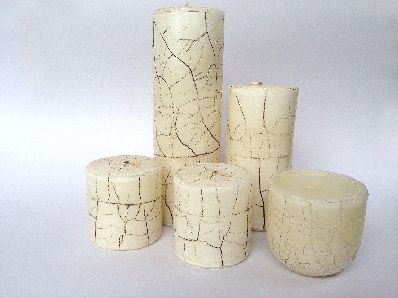 Set of 5 Pillar Candles Crackle Pillar Candles Vintage Candles Hand Poured Candles Wedding Decor