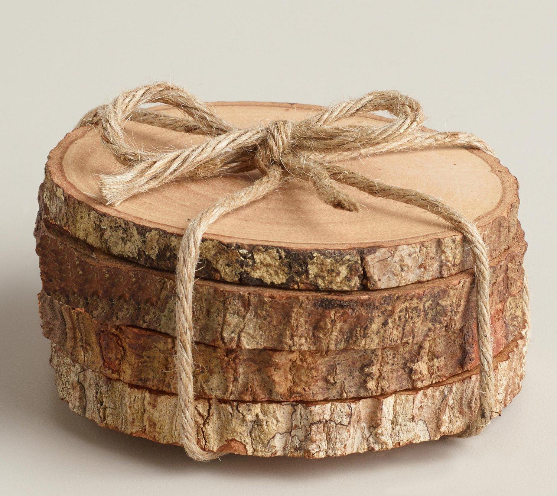 Wood Coasters Rustic Wood Coasters Tree Bark Slice Wood Slice Coasters Wooden Coasters Coaster Set
