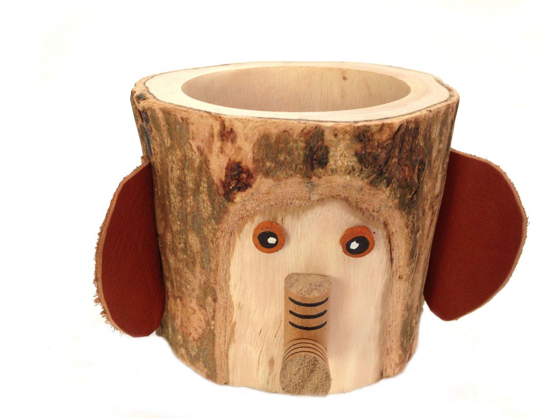 Rustic Pencil Holder Elephant Bark Wood Pencil Cup Tree Bark Pen Holder Desk Organizer