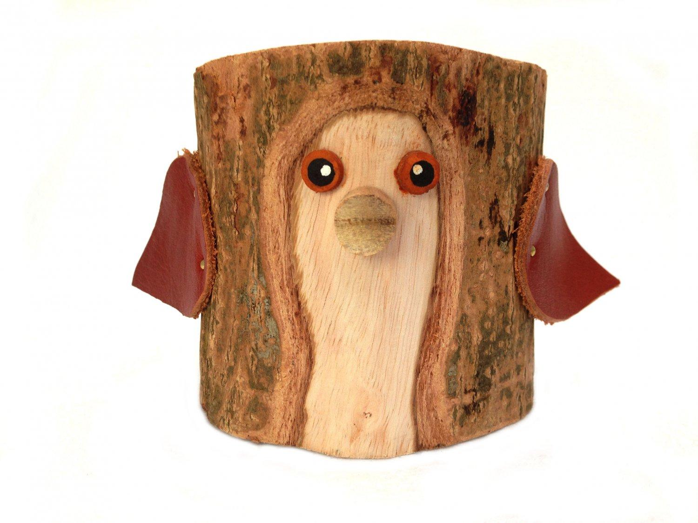 Rustic Pencil Holder Bird Bark Wood Pencil Cup Tree Bark Pen Holder Desk Organizer