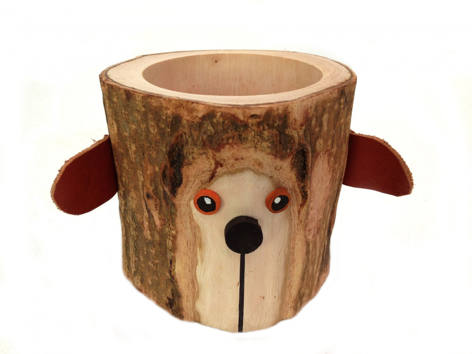 Rustic Pencil Holder Bear Bark Wood Pencil Cup Tree Bark Pen Holder Desk Organizer