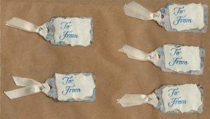 Set of 5 Blue Handmade Gift Tags