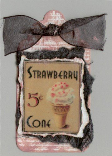 50's Style Strawberry Cone Handmade Scrapbook Tag
