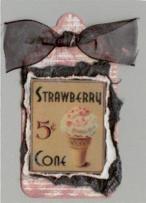 50's Style Strawberry Cone Handmade Scrapbook Tag