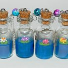 Zenful Water Lilies,Choose Your Color, Bottle Necklace