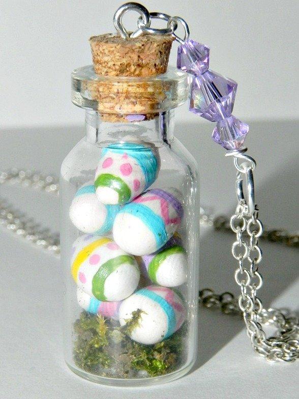 Vintage Easter Eggs Necklace,Bottle Necklace