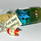 Just Keep Swimming Clown Fish Necklace, Bottle Necklace