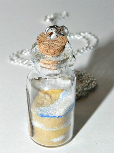 Footprints in the Sand Bottle Necklace