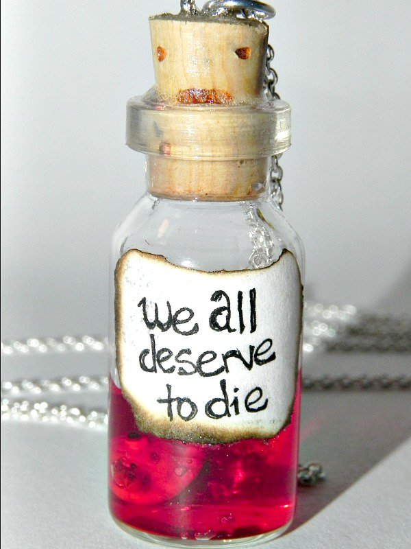 Try the Pie....Sweeney Todd Inspired Bottle Necklace