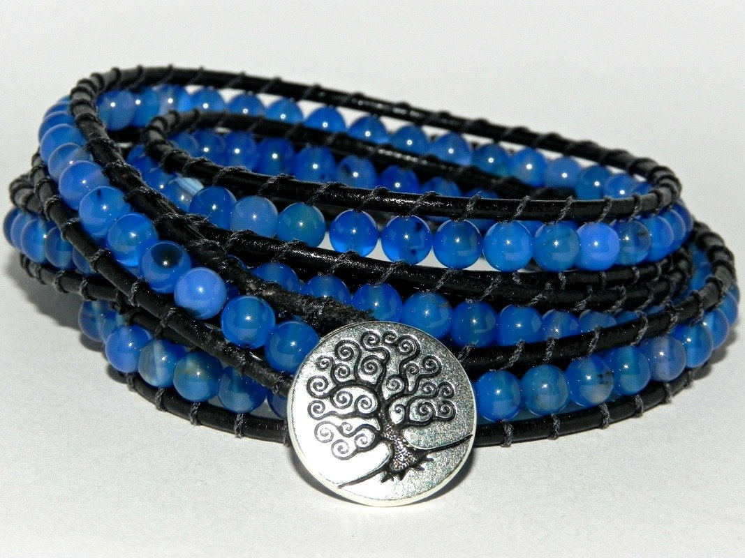 La Isla Bonita, Blue Agate and Leather Wrap Bracelet