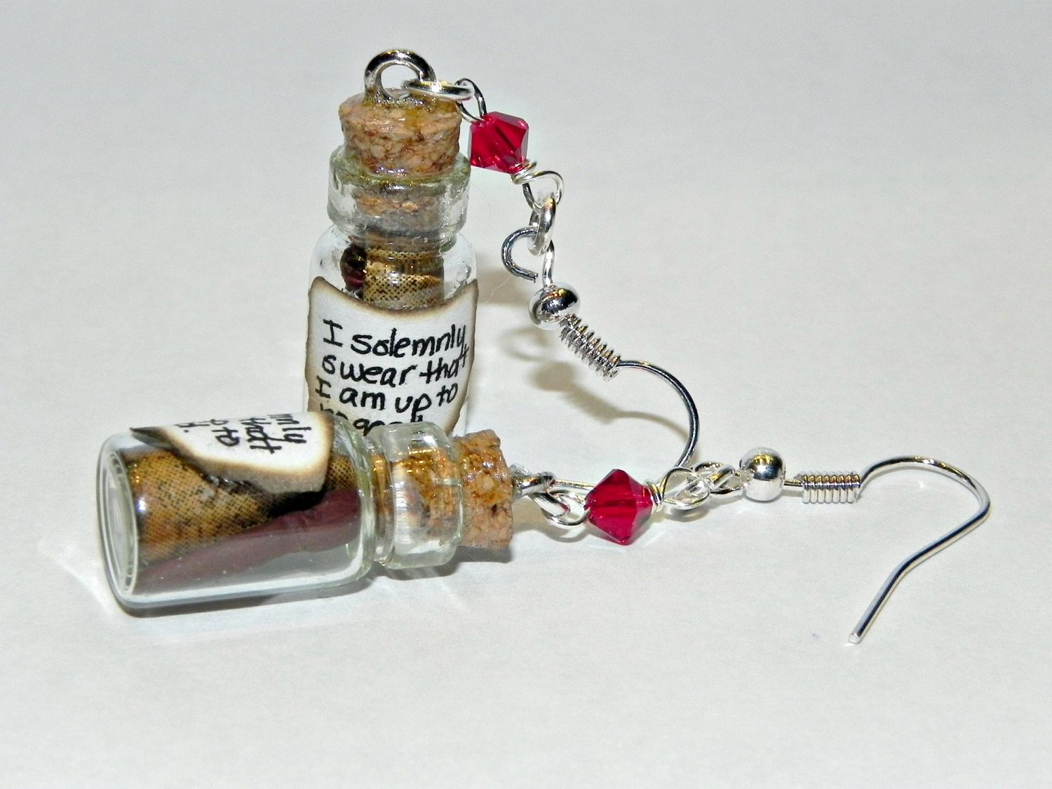 Up to no good! Bottle Earrings, Hand Sculpted, Handmade