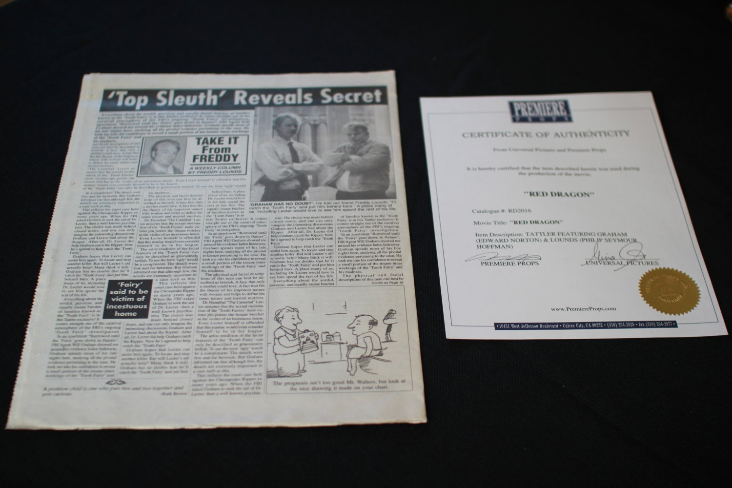 Red Dragon Newspaper article with Ed Norton and Philip Seymour Hoffman