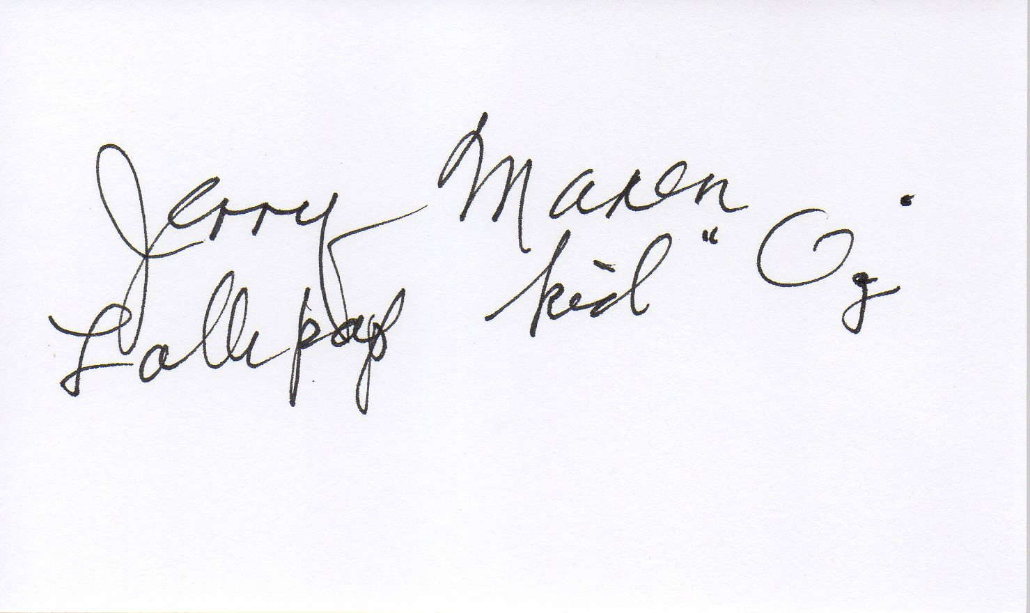 Jerry Maren hand signed 3x5 card. Lollipop Kid Wizard Of Oz