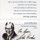 John Wooden UCLA great deceased basketball coach hand signed business card