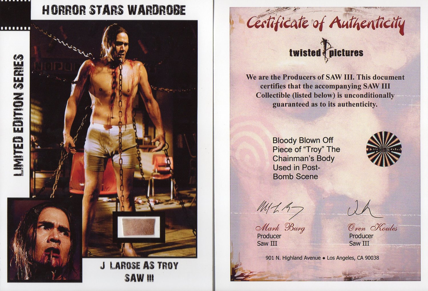 J Larose as Troy SAW 3 Limited Edition 5x7 Card awesome Movie Prop
