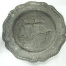 Collectible Cast Metal Pewter Finish Nautical Sailing Ship Plate Made In Spain