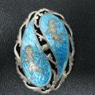 Vintage SIAM Sterling Silver Blue Enamel Pin Brooch