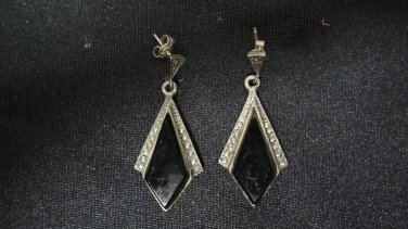 Vintage 925 Sterling Silver, Onyx Stone Woman's Pair of Earrings