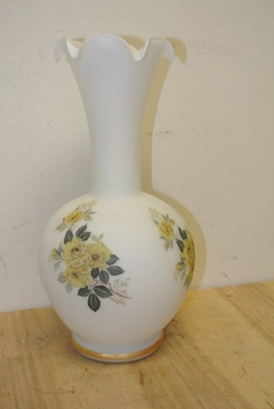 Vintage White Opaque Frosted Glass Hand Painted Large Flower Vase Yellow Flowers