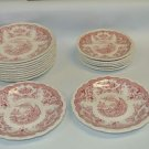 Lot 17 Vintage John Maddock Bombay Red Transferware Assorted Sized Saucers