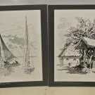 Lot 22 Vintage Austrian Stamp Replica Black & White Matted Prints