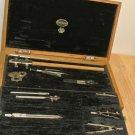 Vtg 14 Pc E.O. RICHTER Precision Drafting Tools, Partial Contents, Wooden Box