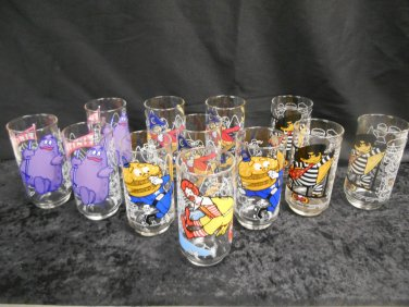 Lot 12 1977 McDonalds Glasses Hamburglar Captain Crook Big Mac Grimace Ronald