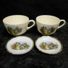 Lot 2 Vintage Cup & Saucer Pairs, Occupied Japan w/ Painted Victorian Scenes